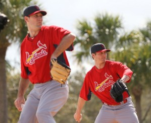Michael Wacha and Shelby Miller throwing a bullpen in Jupiter, FL (Photo: St. Louis Post-Dispatch)