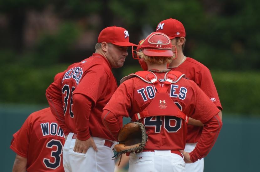 Pitching Coach Bryan Eversgerd visits the mound