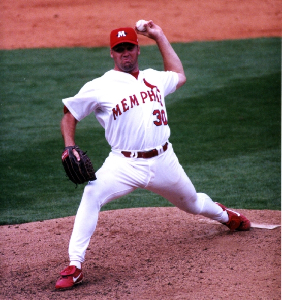 Eversgerd pitching as a Redbird