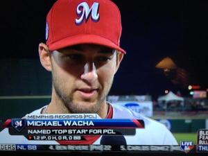 "RHP Michael Wacha being interviewed after receiving the ""Top Star"" award for the PCL  in the 2013 Triple-A All-Star Game."